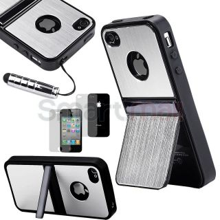 Silver Aluminum TPU Hard Case Cover W/Chrome Stand For iPhone 4 4G 4S