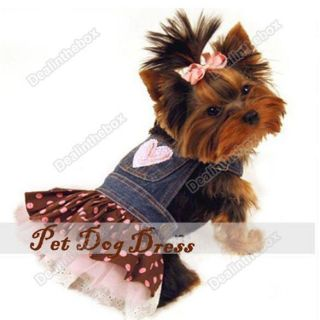 Apparel Clothes Lovely Costume Jeans Dress Skirt Hot Fashion Pet Dog