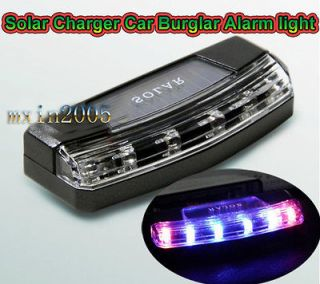 HOT!6 LED Solar Charger Car Violent flash Burglar Alarm Auto light
