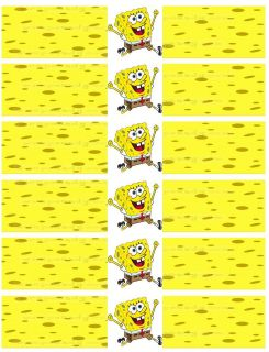 Sponge Bob Water Bottle Labels for Birthday Parties, 12 labels