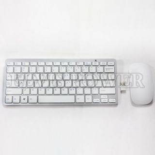 Wireless Slim Touch Mouse & Keyboard White for Sony Vaio Laptop