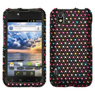 BOOST MOBILE LG MARQUEE LS855 SNAP ON CASE HARD COVER BLING SPRINKLE