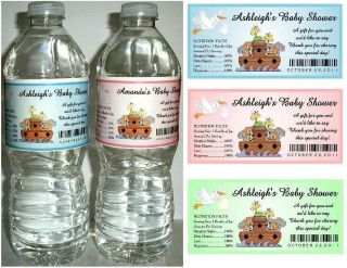 NOAHS ARK BABY SHOWER FAVORS WATER BOTTLE LABELS ~ Glossy ~ Waterproof