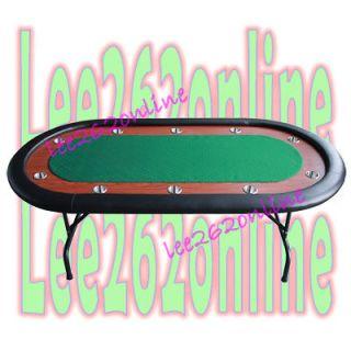 10 Players 96 Texas Holdem Folding Legs Poker Table Green