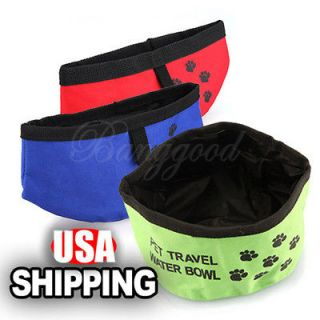 Pet Dog Cat Portable Collapsible Foldable Camping Travel Bowl Water