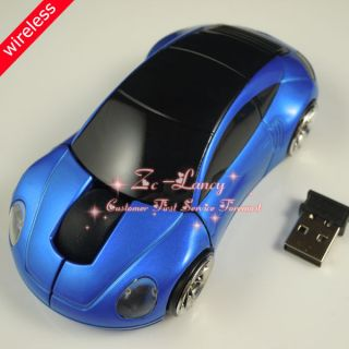 Blue USB Wireless Mouse Receiver Mice for Laptop Macbook Car Vehicle