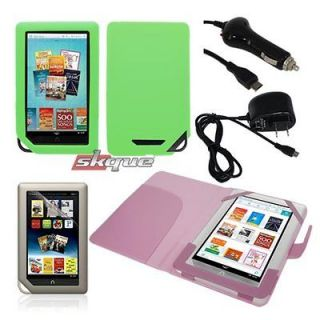 +Green Soft Skin+LCD Film+Wall+Car Charger For Nook Color/Tablet 7