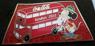 london 2012 olympic pin mickey mouse media bus camera press red