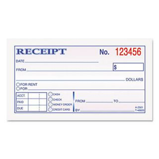 TOP 46820 Tops Money and Rent Receipt Books 2 Part Carbonless 50 Sets