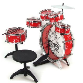 Drum Set Red Boy Girl Musical Instrument Toy Music Band Children NEW