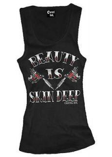 Carte Ink Beauty Is Skin Deep Ink Tattoo Gun Ladies Shirt Tank Top