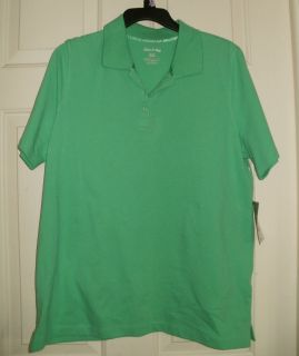 New Womens Mint Green Polo Shirt XL 16 18 White Stag Short Sleeves Top