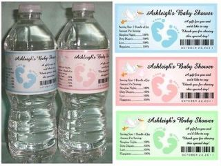 30 PERSONALIZED BABY SHOWER WATER BOTTLE LABELS ~ Glossy ~ Waterproof