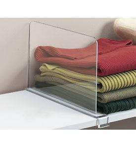 Clip On Clear Acrylic Shelf Divider For Closet Shelves