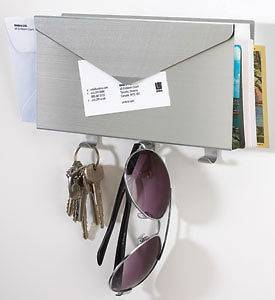 Brushed Aluminum Wall Mount Mail Organizer and Key Rack From Umbra
