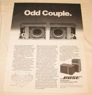 Vintage Bose 301 Direct Reflecting Speakers PRINT AD