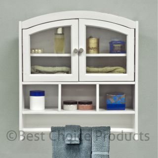 Cabinet White Arch Top Bath Wall Mount Storage Cabinet Solid Wood New