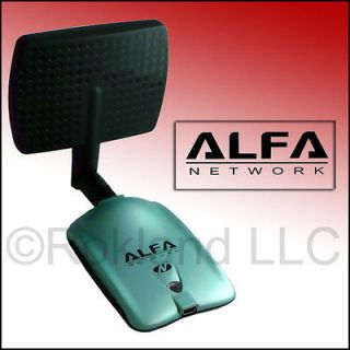 Alfa AWUS036NH 2000mW USB Wireless Wi Fi Adapter + APA M04 7 dBi PANEL