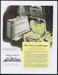 1946 Halliburton Luggage Travel Case Air Tight Print Ad