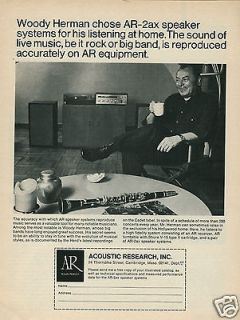 1971 ACOUSTIC RESEARCH AR 2ax Speakers Woody Herman in Hollywood Home