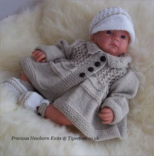 Knitting Pattern Baby Boys or Reborn Tommy Jacket/Coat Peaked Cap