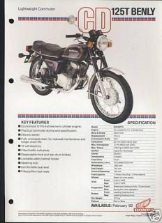 Honda UK CD125T Benly (1982) Data Sheet/Brochure CD125,CD 125 T