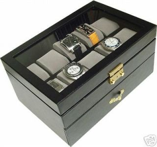 WATCH BOXGLASS TOP DISPLAY WATCH CASE WITH LOCK AND KEY /20 WATCHES