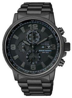 Citizen Eco Drive Mens Nighthawk Flight Chrono All Black Watch CA0295