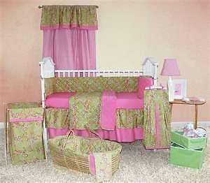 Tadpoles Cherry Blossom 5 Piece Crib Bedding Set Coral Pink Green Girl
