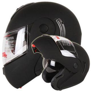 MATTE BLACK DUAL VISOR MODULAR FLIP UP MOTORCYCLE HELMET DOT Size S