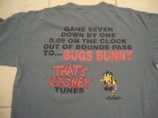 Looney Tunes Daffy Duck Bugs Bunny Basketball Themed Blue/Gray T Shirt