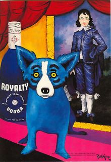 George Rodrigue Blue Dog Royalty Vodka Print RARE