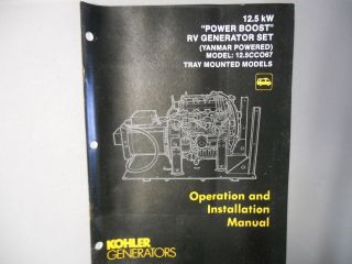 Kohler Generator Operation Installation Manual 12.5 Power Boost Tray