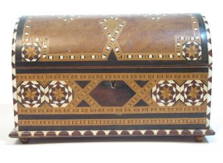 Incredible Antique Barrel Topped Burled Wood Parquetry Inlaid Wood Box