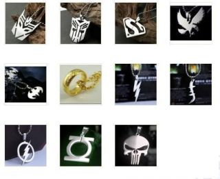 DC Marvel Super Hero Steel Chain Pendant Necklace Ring Batman The