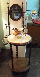 WASH BASIN STAND WITH BOWL AND PITCHER WOOD MIRROR TOWEL RACK CANDLE