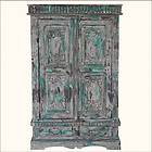 Wood Hand Carved Double Door Clothes Wardrobe Armoire Wooden Furniture