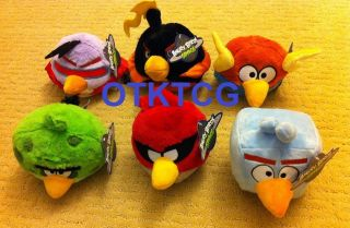 ANGRY BIRDS SPACE PLUSH SET 5 RED BLACK PURPLE GREEN BLUE ORANGE