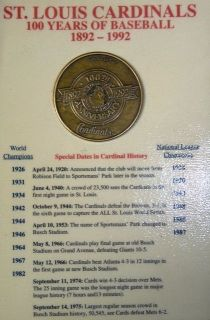 ST LOUIS CARDINALS 100 YEARS OF BASEBALL 1892 1992 ANNIVERSARY COIN