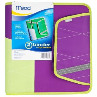 Mead 2 Inch 2  3 Ring Coupon Binder with Pocket and Zipper, Purple