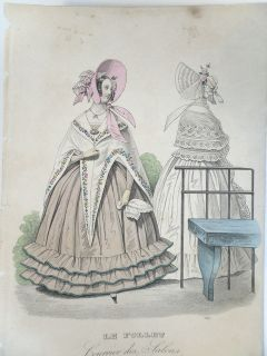 Antique French Fashion Plate Print 1838 Le Follet Courier des Salons