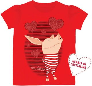 Olivia the Pig Nickelodeon Girls T Shirt Red Stripes XOXO 2T 3T 4T 5T