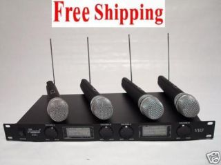 Pro 4 Channel VHF wireless Microphone Mic System New