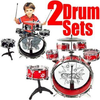 Toy Drum Set Black & Red Musical Instrument Music Band Child Kid