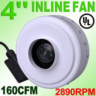 2890RPM 4 Inch Inline Duct Exhaust Fan Air Blower Vent Cooling