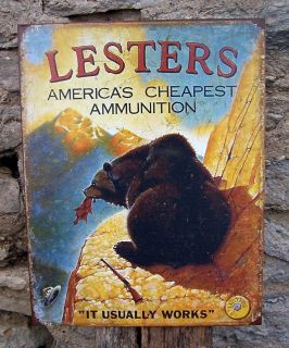 Antique Style Lesters Ammunition Funny Metal Sign Retro Ad Wall Decor