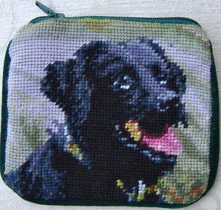 Labrador Retriever (black lab) needlepoint coin purse with shoulder