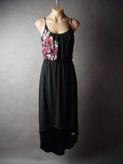 Black Rose Tattoo Art Design Blouson Slip High Low Long Asymmetrical