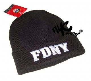 FDNY WINTER HAT BLACK WHITE EMBROIDERED LOGO BEANIE KNIT CAP OFFICIAL