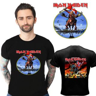 NEW IRON MAIDEN CANADA TOUR 2012 MOOSE LOGO TWO SIDE BLACK SHIRT S,M,L